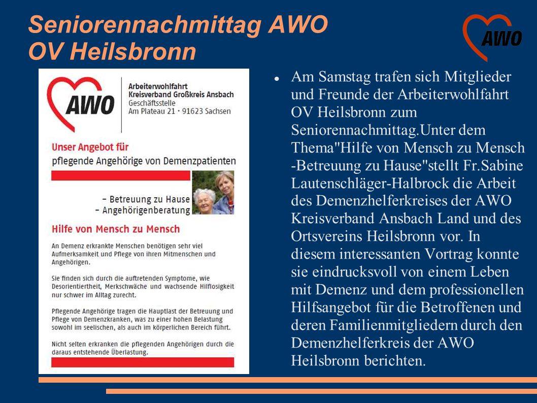 Seniorennachmittag AWO OV Heilsbronn