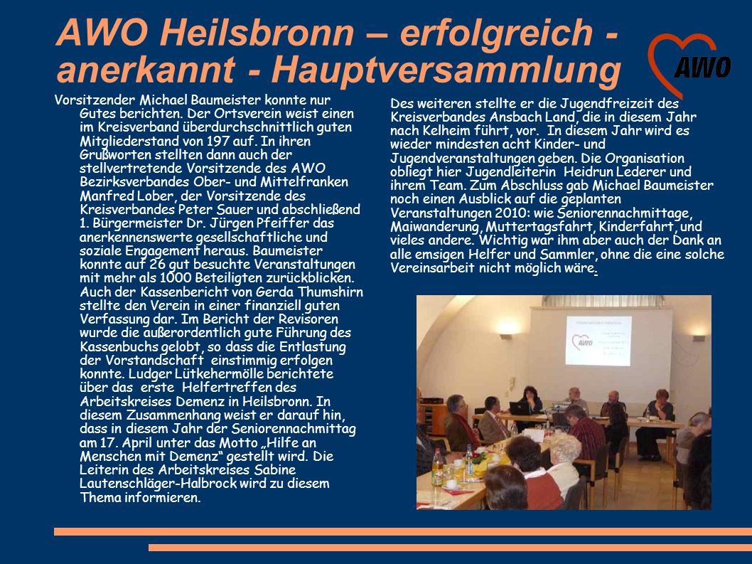 AWO Heilsbronn – erfolgreich - anerkannt - Hauptversammlung