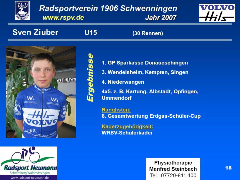 Sven Ziuber U15 (30 Rennen) Ergebnisse 1. GP Sparkasse Donaueschingen