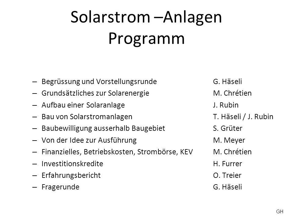 Solarstrom –Anlagen Programm
