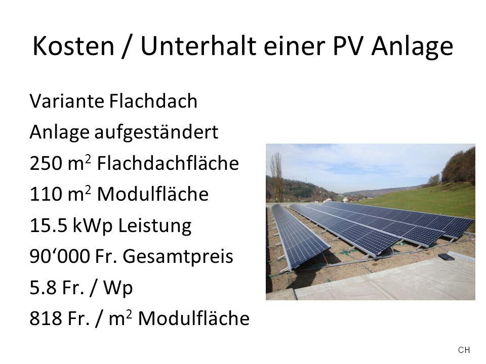 Kosten / Unterhalt einer PV Anlage