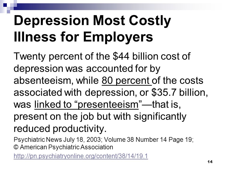 Depression Most Costly Illness for Employers