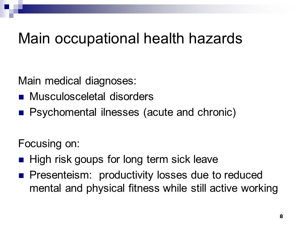 Main occupational health hazards