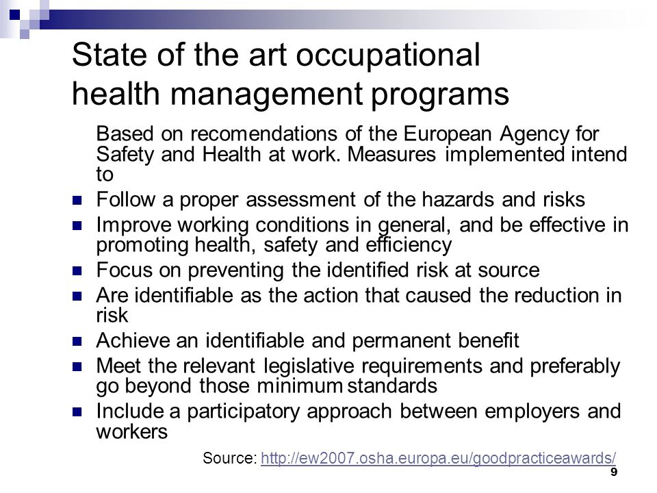 State of the art occupational health management programs