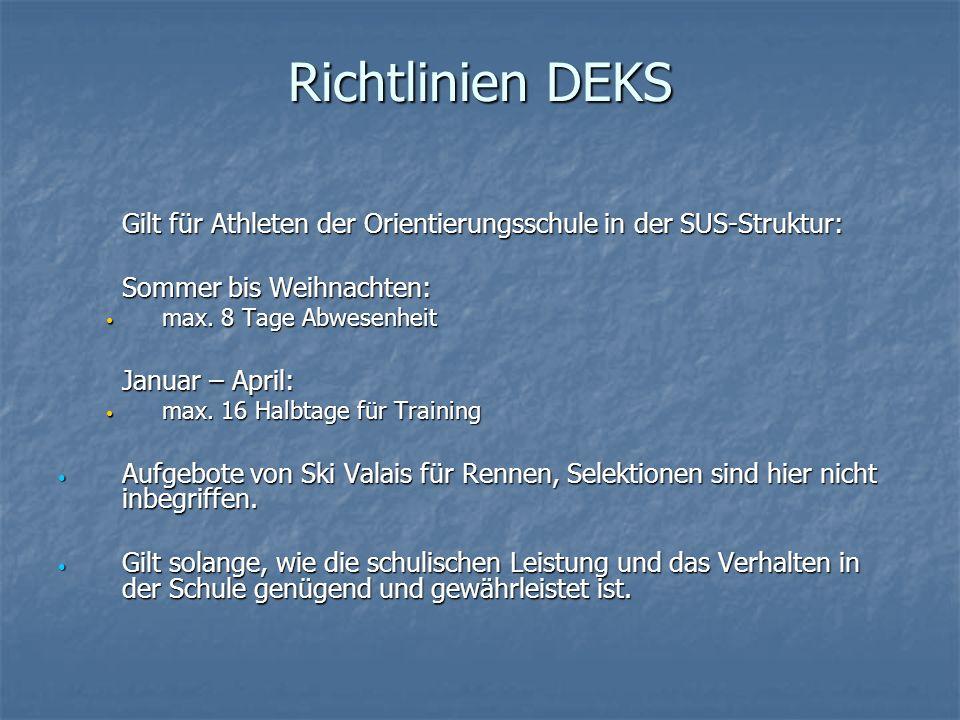 Richtlinien DEKS Gilt für Athleten der Orientierungsschule in der SUS-Struktur: Sommer bis Weihnachten: