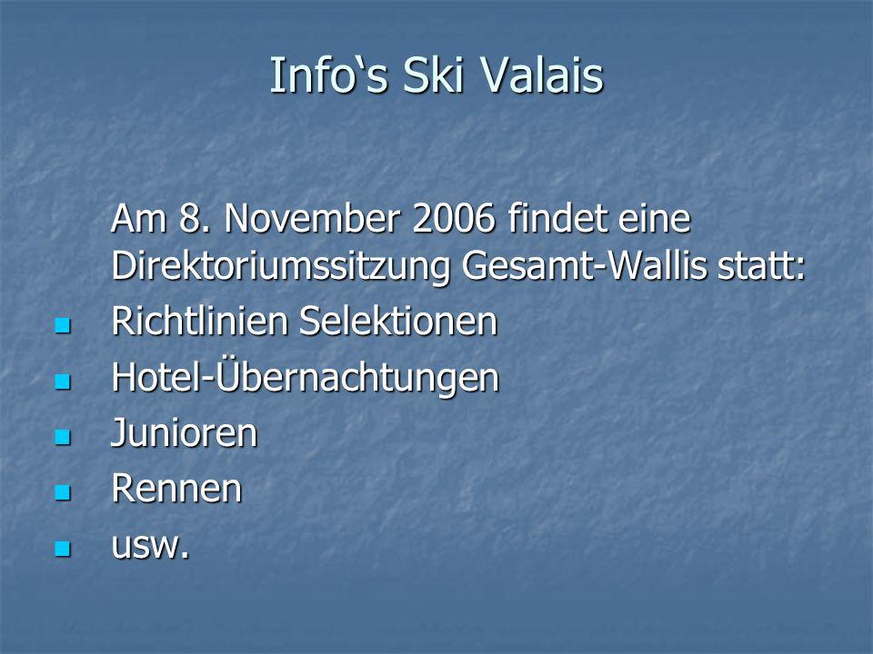 Info's Ski Valais Am 8. November 2006 findet eine Direktoriumssitzung Gesamt-Wallis statt: Richtlinien Selektionen.