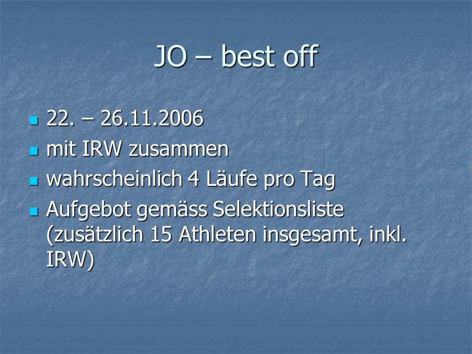 JO – best off 22. – 26.11.2006 mit IRW zusammen
