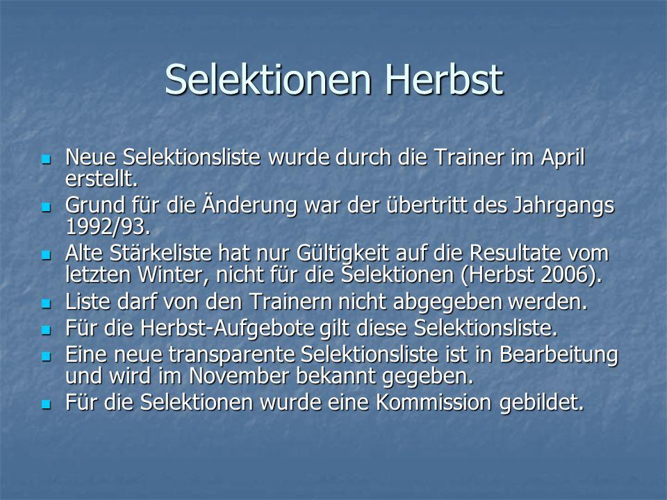 Selektionen HerbstNeue Selektionsliste wurde durch die Trainer im April erstellt. Grund für die Änderung war der übertritt des Jahrgangs 1992/93.