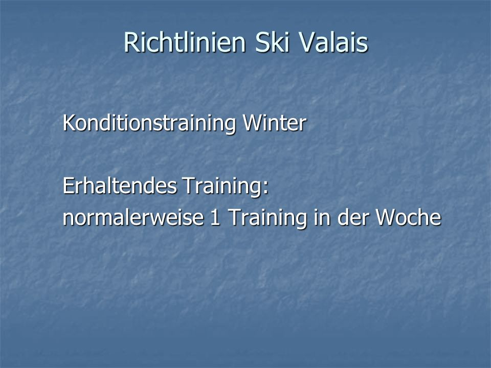 Richtlinien Ski Valais