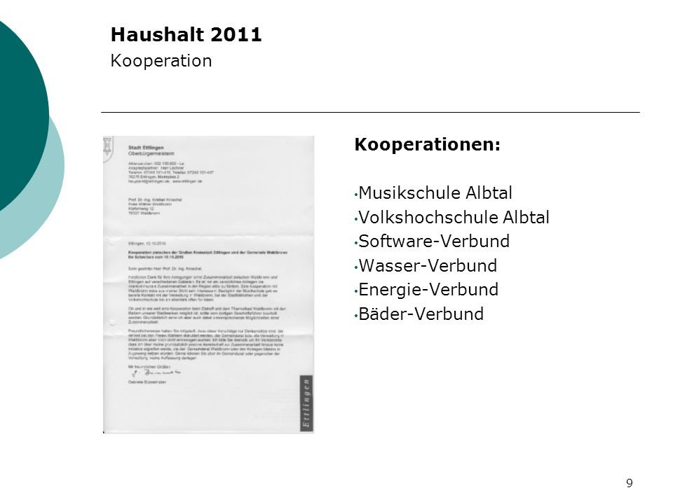 Haushalt 2011 Kooperation Kooperationen: Musikschule Albtal