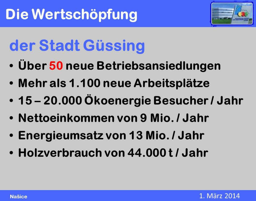 der Stadt Güssing Die Wertschöpfung Über 50 neue Betriebsansiedlungen