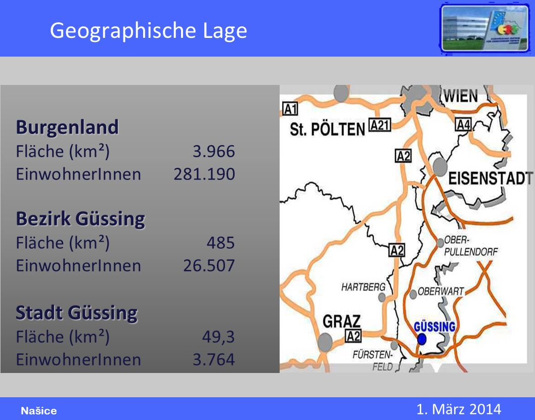 Geographische Lage Burgenland Bezirk Güssing Stadt Güssing