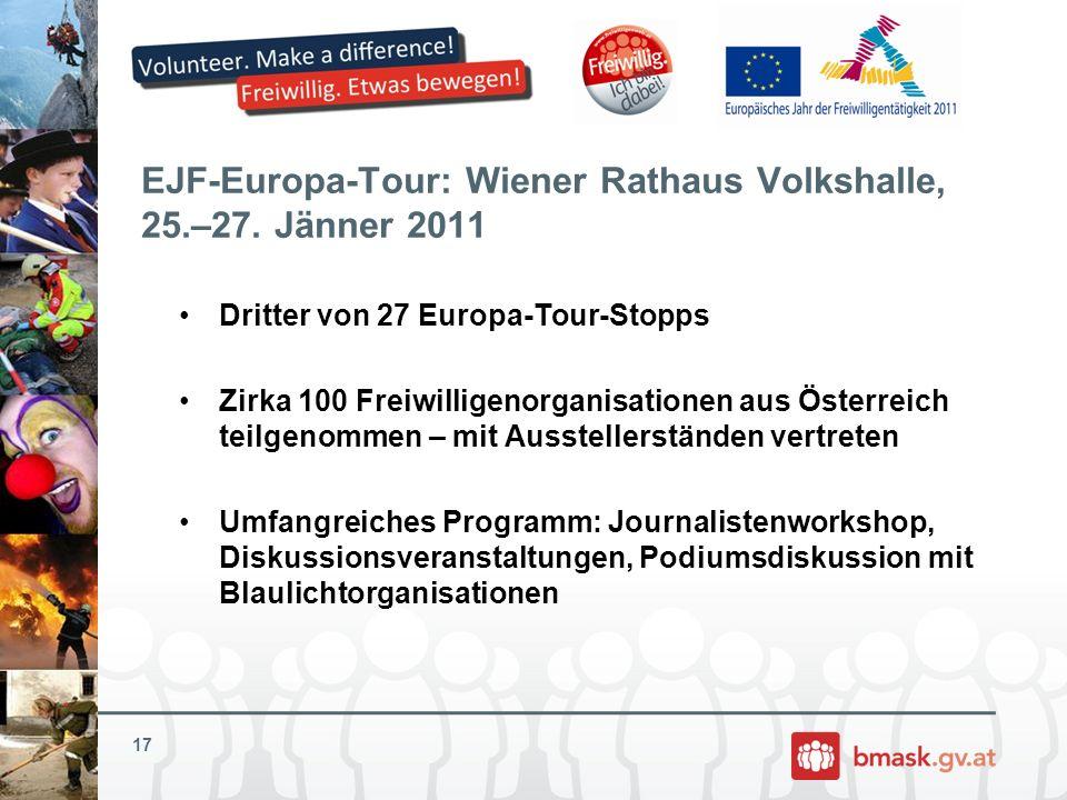 EJF-Europa-Tour: Wiener Rathaus Volkshalle, 25.–27. Jänner 2011