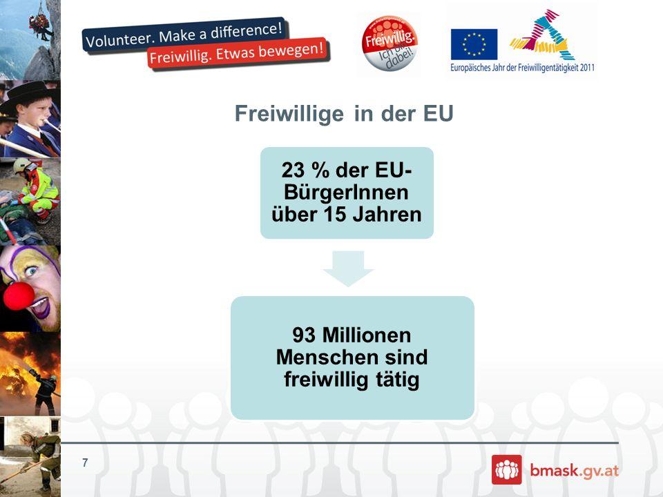 Freiwillige in der EU 7 23 % der EU-BürgerInnen über 15 Jahren