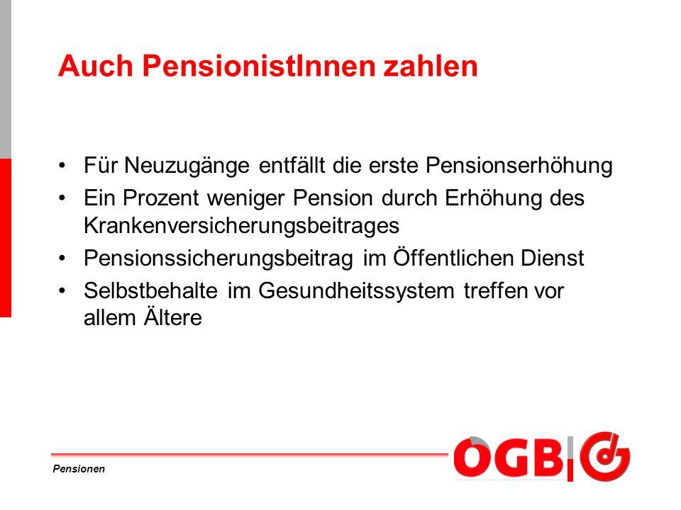 Auch PensionistInnen zahlen