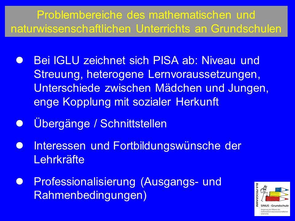 Problembereiche des mathematischen und naturwissenschaftlichen Unterrichts an Grundschulen