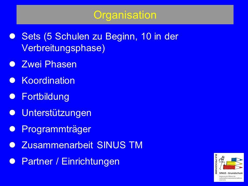 Organisation  Sets (5 Schulen zu Beginn, 10 in der Verbreitungsphase)
