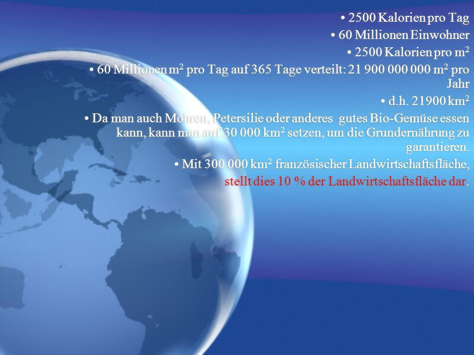 • 2500 Kalorien pro Tag • 60 Millionen Einwohner. • 2500 Kalorien pro m2.