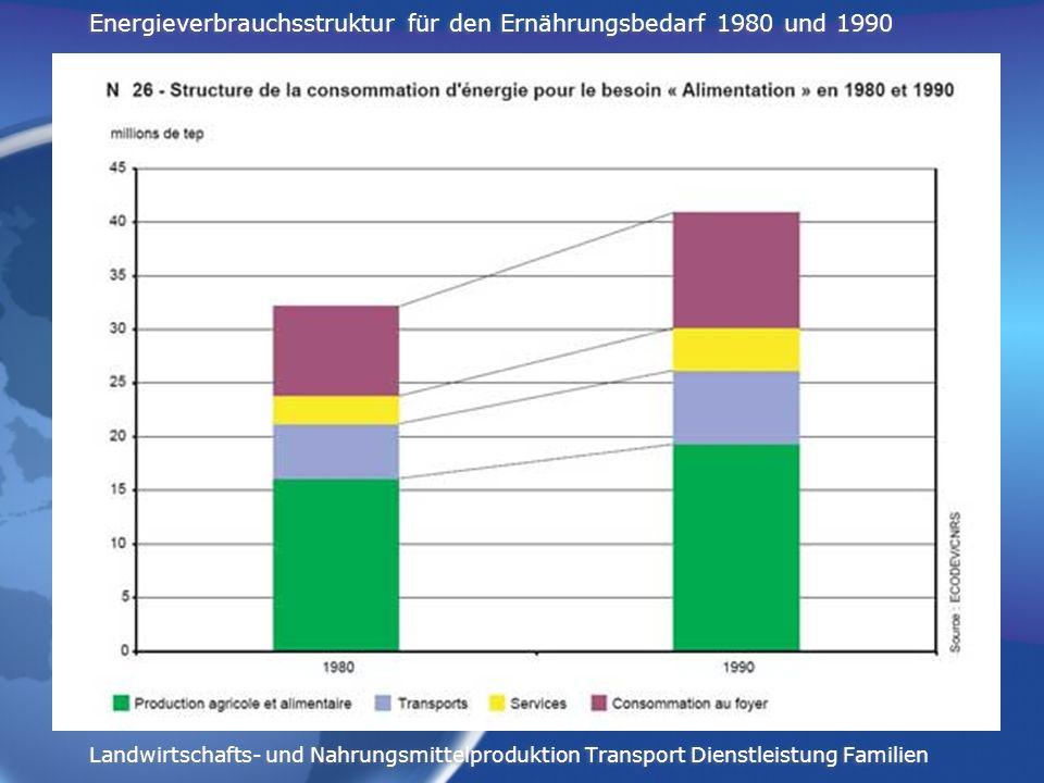 Energieverbrauchsstruktur für den Ernährungsbedarf 1980 und 1990