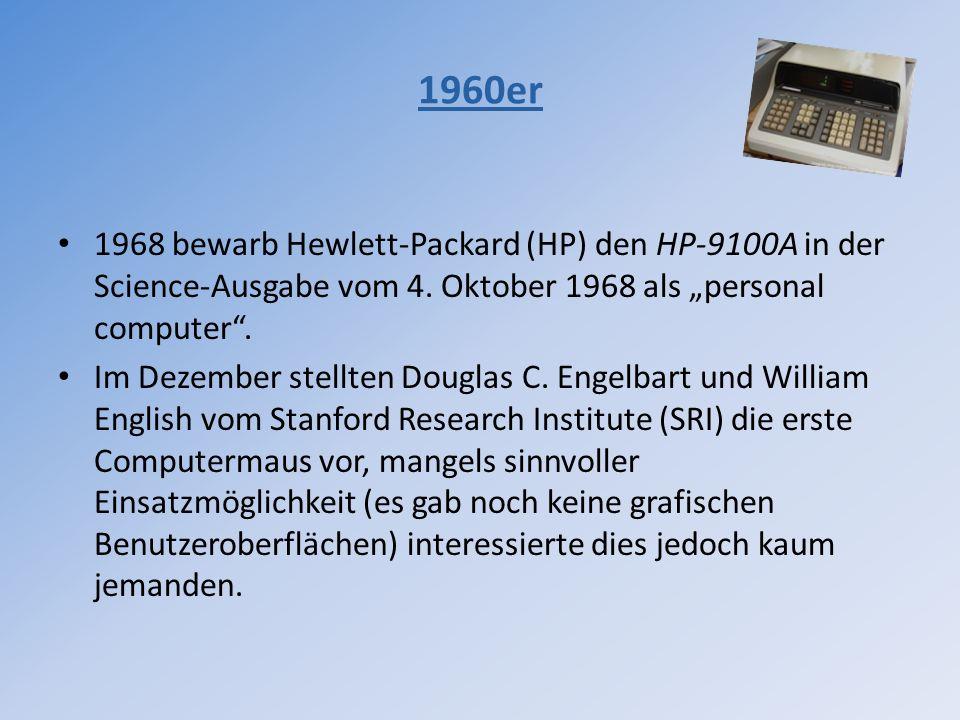 """1960er 1968 bewarb Hewlett-Packard (HP) den HP-9100A in der Science-Ausgabe vom 4. Oktober 1968 als """"personal computer ."""