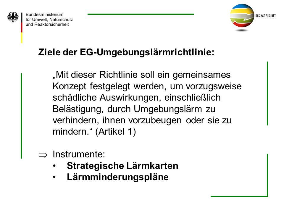 Ziele der EG-Umgebungslärmrichtlinie: