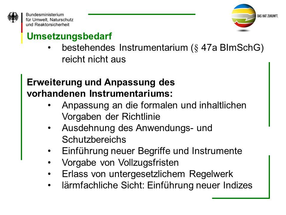 Umsetzungsbedarf bestehendes Instrumentarium (§ 47a BImSchG) reicht nicht aus. Erweiterung und Anpassung des.