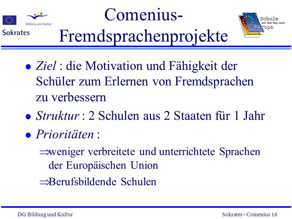 Comenius- Fremdsprachenprojekte