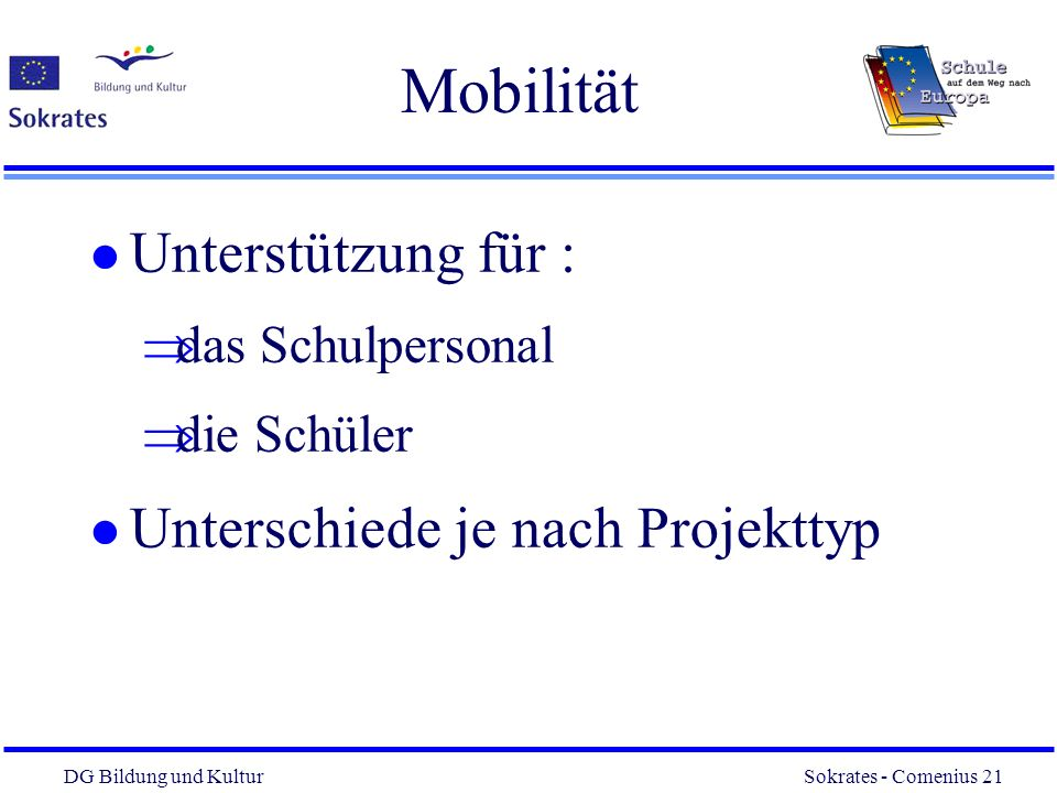 Mobilität Unterstützung für : Unterschiede je nach Projekttyp