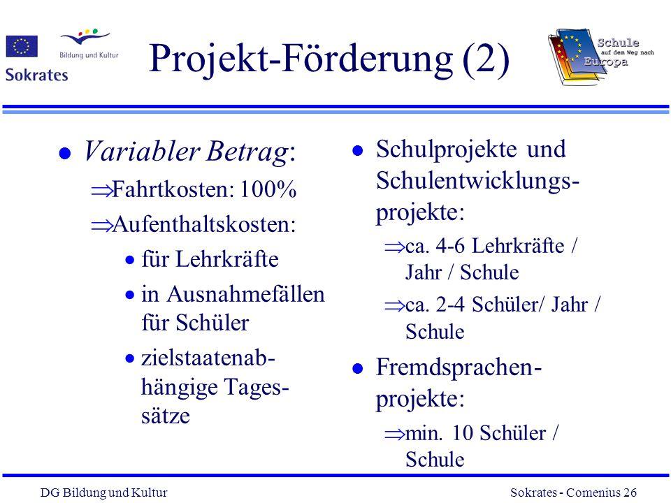 Projekt-Förderung (2) Variabler Betrag: