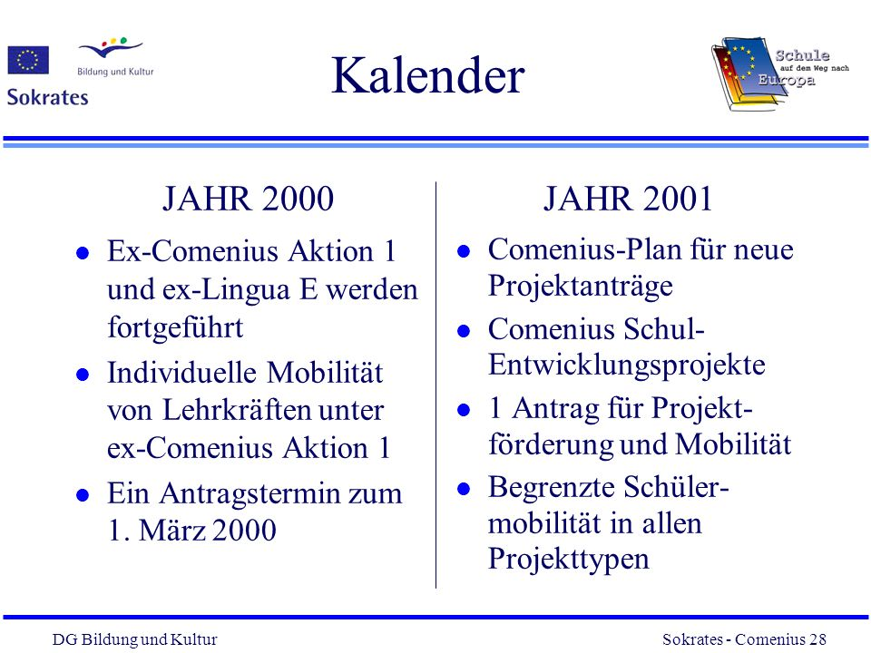 Kalender JAHR 2000. Ex-Comenius Aktion 1 und ex-Lingua E werden fortgeführt. Individuelle Mobilität von Lehrkräften unter ex-Comenius Aktion 1.