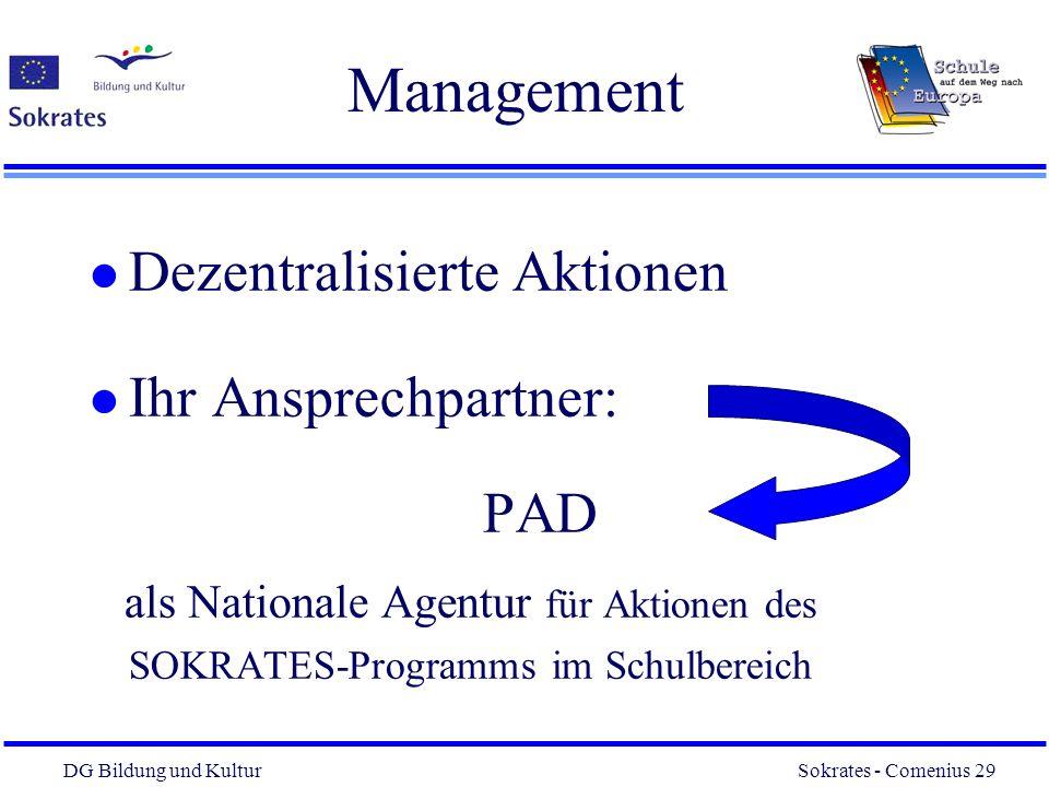 Management Dezentralisierte Aktionen Ihr Ansprechpartner: PAD