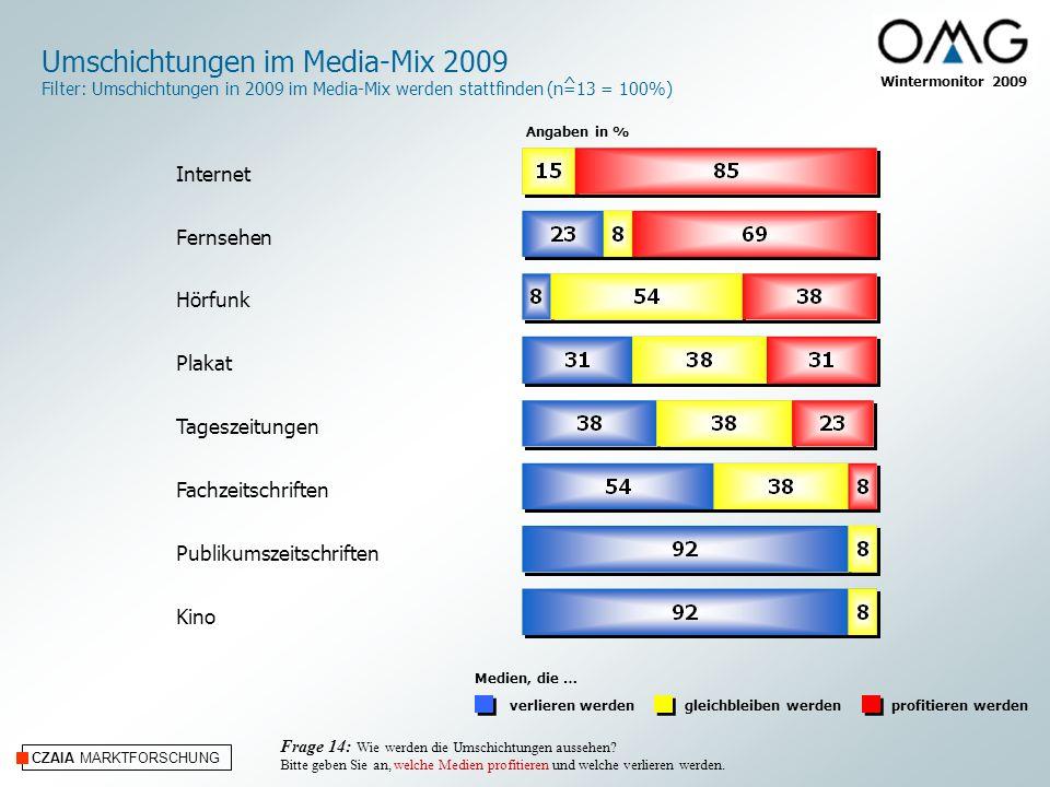 Umschichtungen im Media-Mix 2009