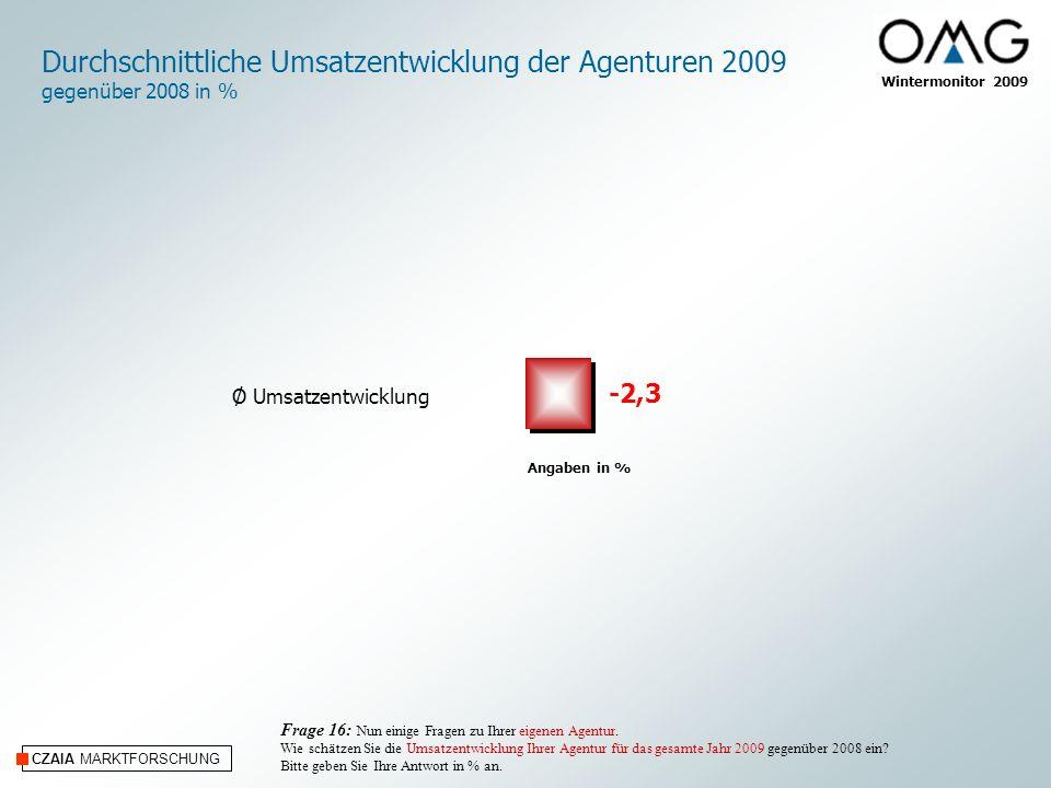Durchschnittliche Umsatzentwicklung der Agenturen 2009