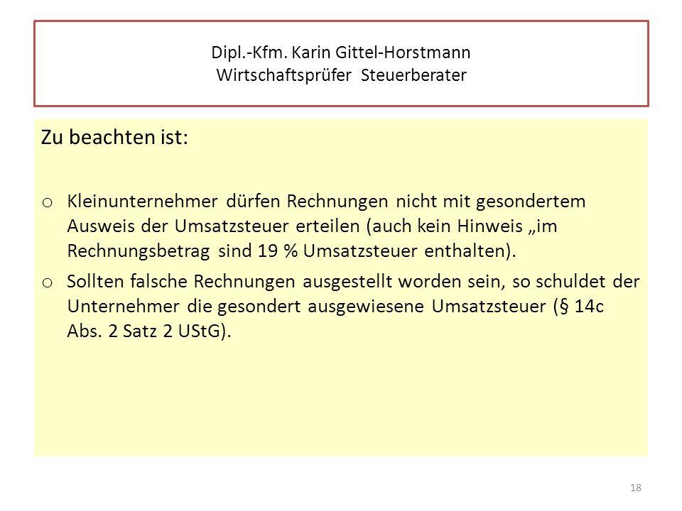 Dipl.-Kfm. Karin Gittel-Horstmann Wirtschaftsprüfer Steuerberater