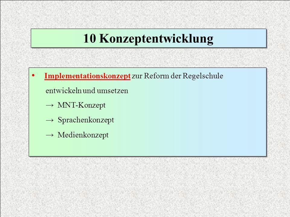 10 Konzeptentwicklung Implementationskonzept zur Reform der Regelschule. entwickeln und umsetzen. → MNT-Konzept.