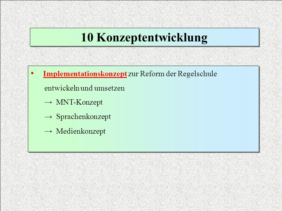 10 KonzeptentwicklungImplementationskonzept zur Reform der Regelschule. entwickeln und umsetzen. → MNT-Konzept.