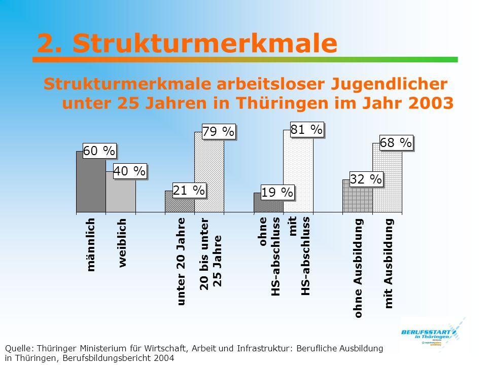 2. Strukturmerkmale Strukturmerkmale arbeitsloser Jugendlicher unter 25 Jahren in Thüringen im Jahr 2003.
