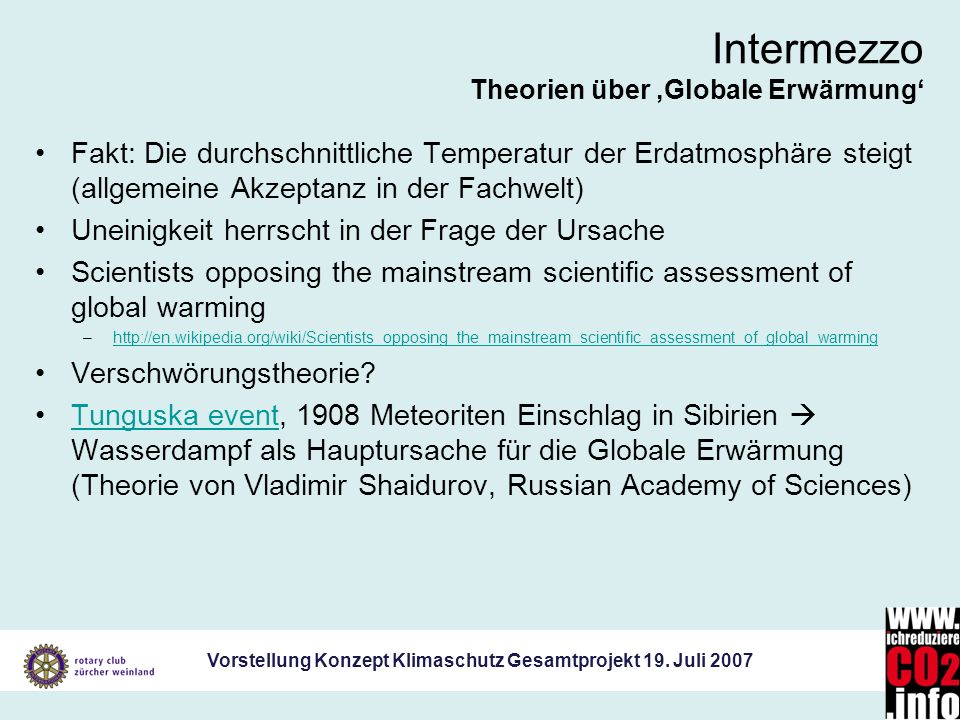 Intermezzo Theorien über 'Globale Erwärmung'