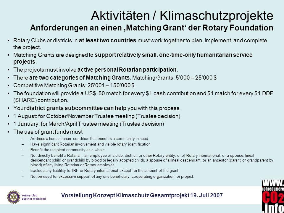 Aktivitäten / Klimaschutzprojekte Anforderungen an einen 'Matching Grant' der Rotary Foundation