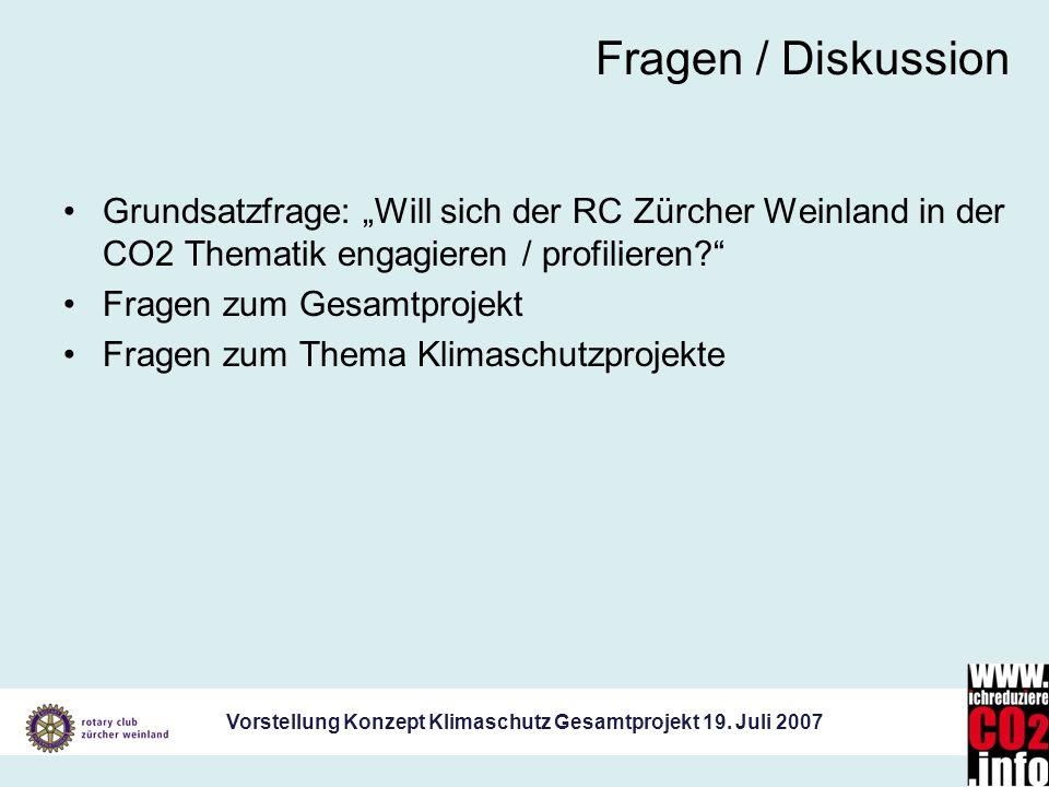 """Fragen / Diskussion Grundsatzfrage: """"Will sich der RC Zürcher Weinland in der CO2 Thematik engagieren / profilieren"""