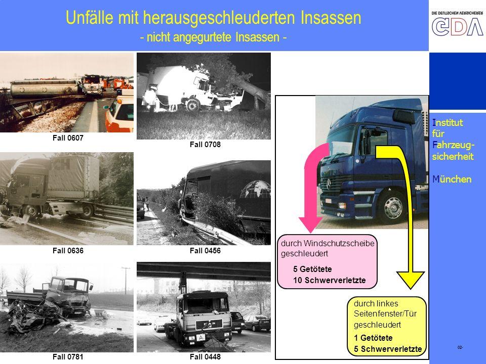 Unfälle mit herausgeschleuderten Insassen - nicht angegurtete Insassen -