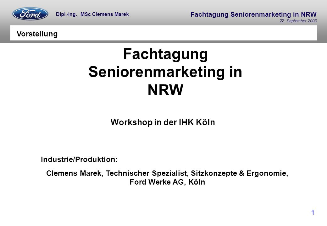 Fachtagung Seniorenmarketing in NRW Workshop in der IHK Köln