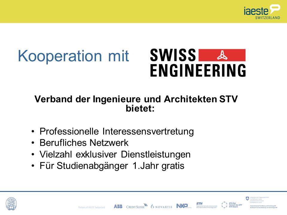 Verband der Ingenieure und Architekten STV bietet: