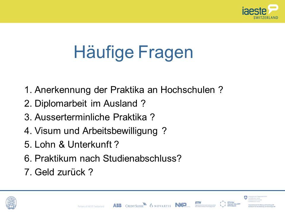 Häufige Fragen 1. Anerkennung der Praktika an Hochschulen