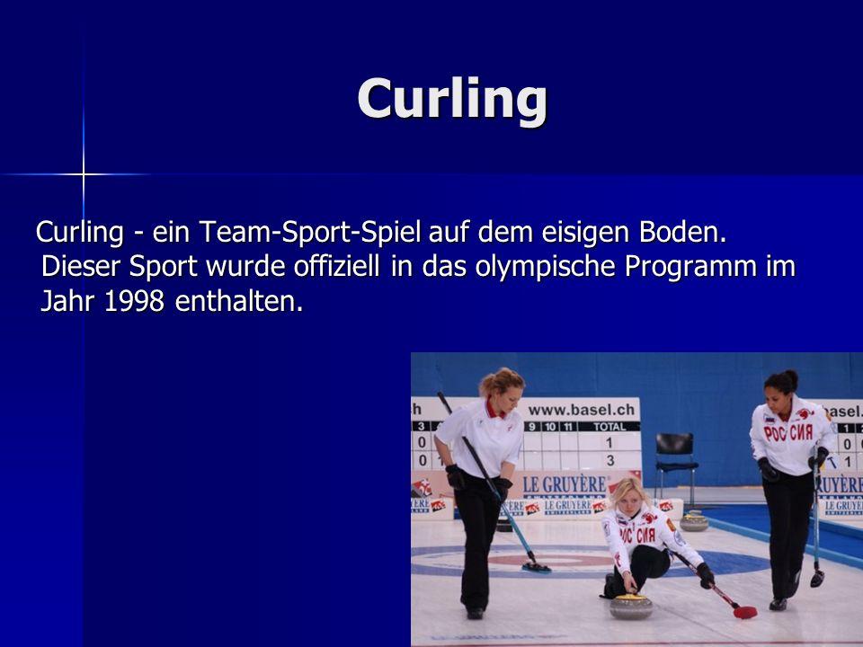 Curling Curling - ein Team-Sport-Spiel auf dem eisigen Boden.