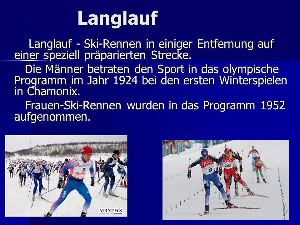 LanglaufLanglauf - Ski-Rennen in einiger Entfernung auf einer speziell präparierten Strecke.