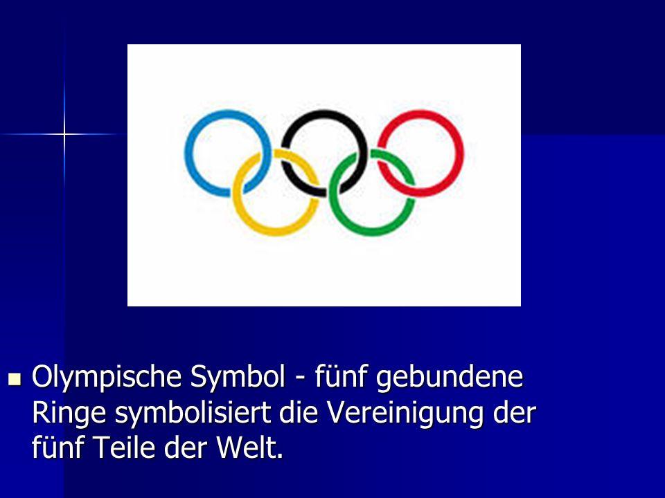 Olympische Symbol - fünf gebundene Ringe symbolisiert die Vereinigung der fünf Teile der Welt.