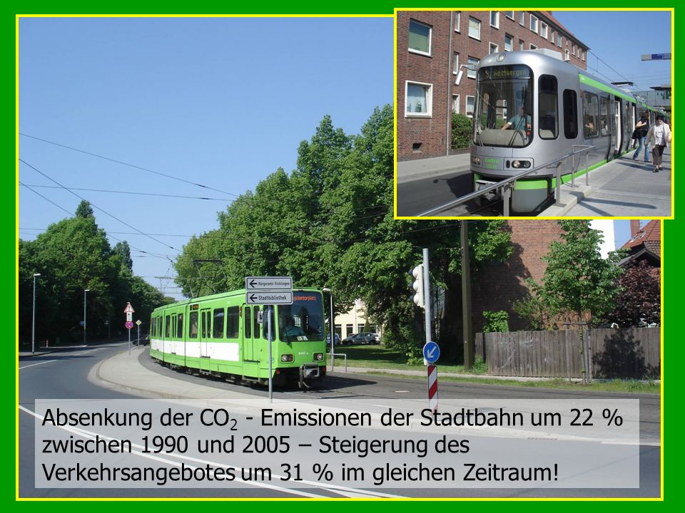Absenkung der CO2 - Emissionen der Stadtbahn um 22 % zwischen 1990 und 2005 – Steigerung des Verkehrsangebotes um 31 % im gleichen Zeitraum!
