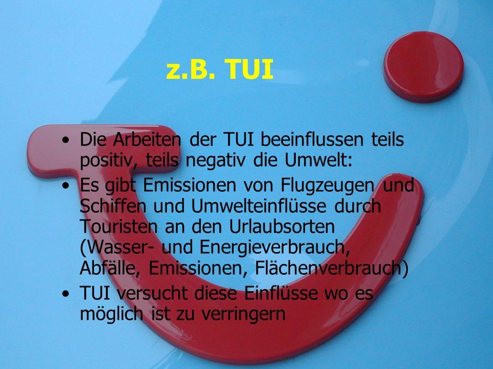 z.B. TUI Die Arbeiten der TUI beeinflussen teils positiv, teils negativ die Umwelt: