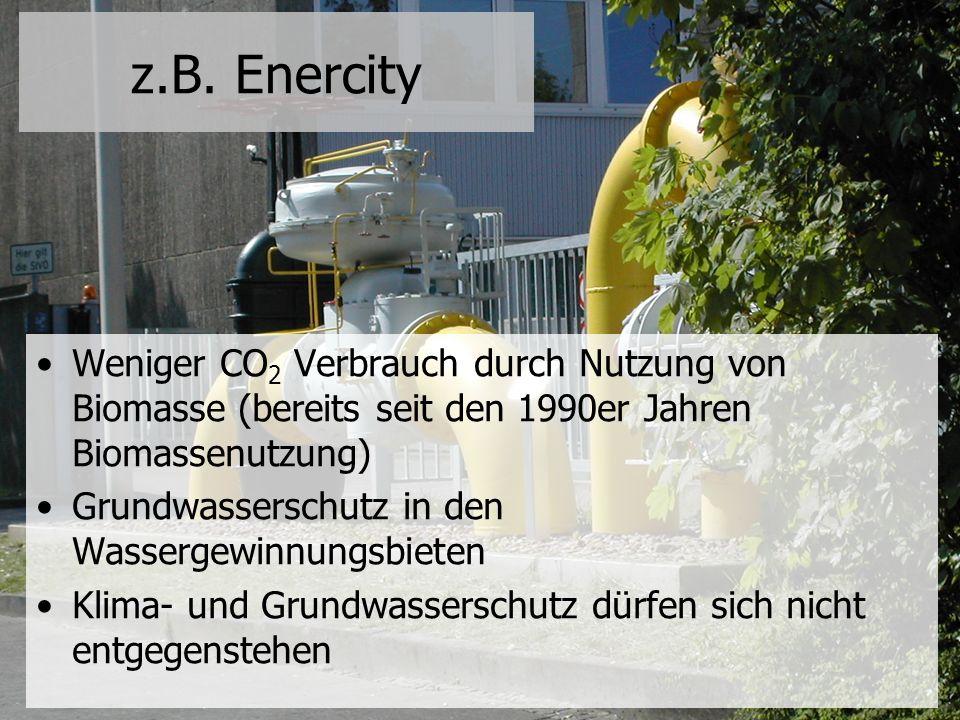 z.B. Enercity Weniger CO2 Verbrauch durch Nutzung von Biomasse (bereits seit den 1990er Jahren Biomassenutzung)